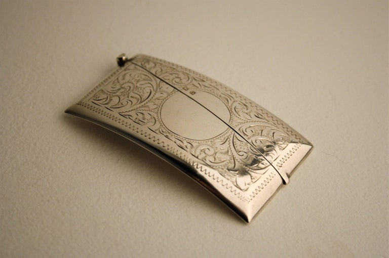 very refined sterling silver business card holder made by goldsmith henry williamson with birmingham hallmarks from - Silver Business Card Holder