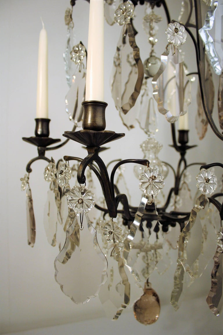 Patinated 18th Century, Louis XV Period Crystal Chandelier For Sale