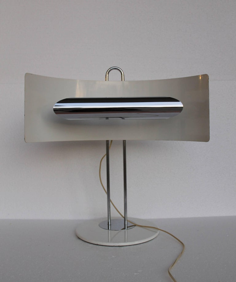 Table lamp, chrome iron structure, white enameled iron base and lampshade. Italian design, end of 1960s.