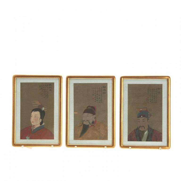 Set of antique Chinese ancestral portraits, 19th-20th century, pigment on silk, with inscriptions and red seal mark, upper right, matted and framed under glass.  Print Size: 12 x 7.25 inches Framed: 11 x 16 inches