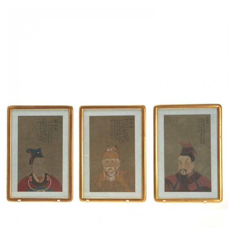 Painted Eight Antique Chinese Ancestral Portraits, circa 1900 For Sale