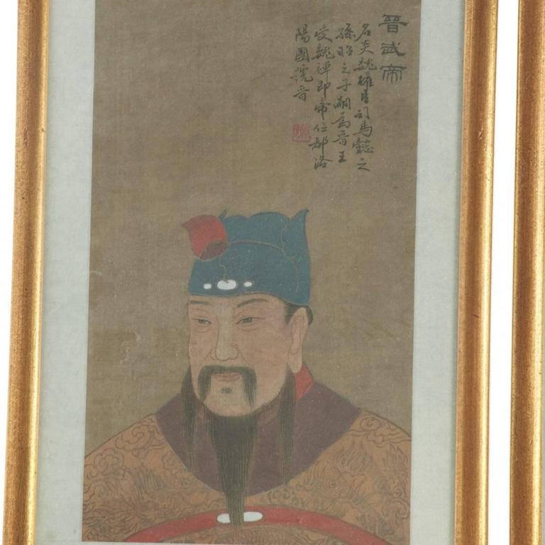 Eight Antique Chinese Ancestral Portraits, circa 1900 In Good Condition For Sale In Houston, TX