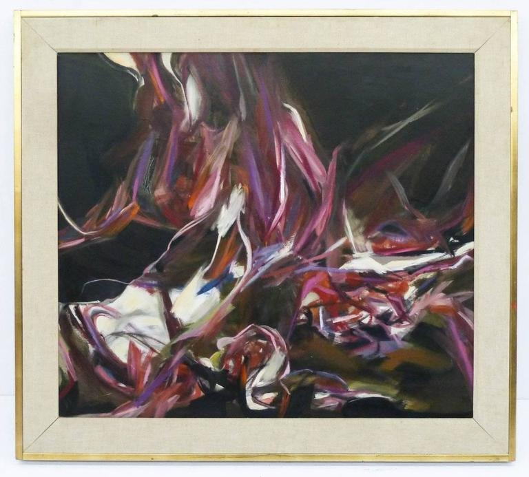 Framed Oil on Canvas Abstract Painting by Peter Lobello, 1962 In Excellent Condition For Sale In Houston, TX