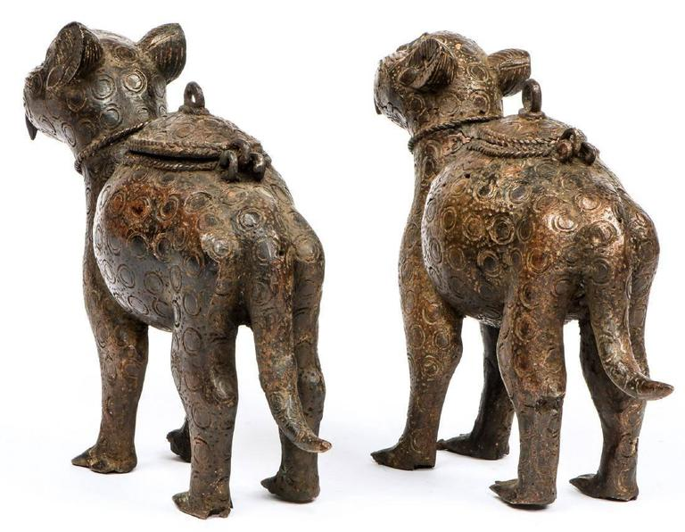 Pair Of Decorative Benin Bronze Leopard Statues From