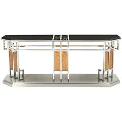 Incredible Mixed Metal and Mixed Stone Console Table by Lorin Marsh, circa 1980