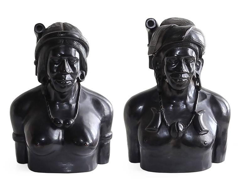 Incredible Pair of Hand-Carved Wood Bust Sculptures of Tribal Shaman Figures 2