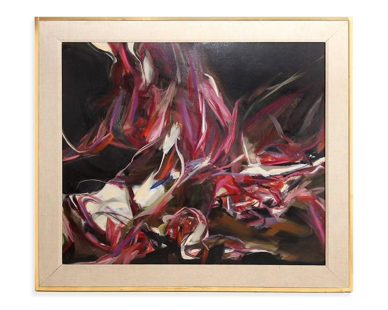 Framed Oil on Canvas Abstract Painting by Peter Lobello, 1962 2
