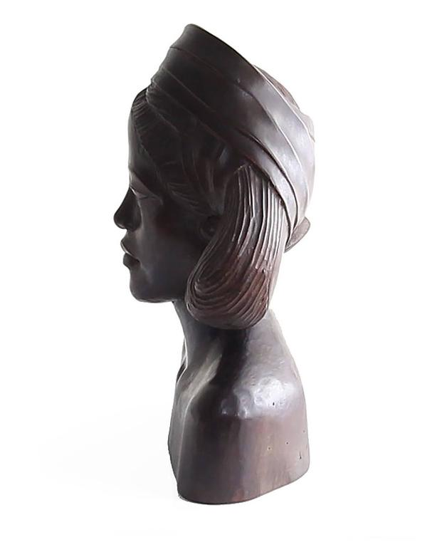 Art Deco Beautiful Carved Mahogany Bust of Balinese Woman Wearing Headscarf For Sale