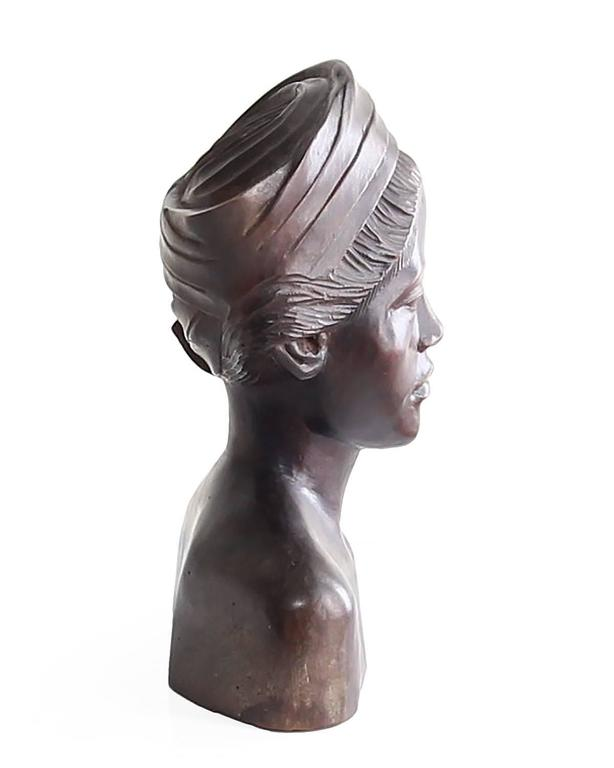 20th Century Beautiful Carved Mahogany Bust of Balinese Woman Wearing Headscarf For Sale