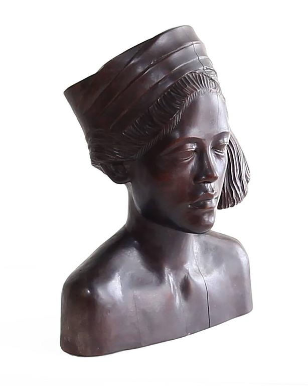Ebony Beautiful Carved Mahogany Bust of Balinese Woman Wearing Headscarf For Sale
