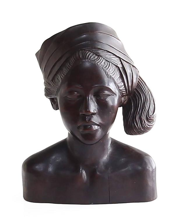Beautiful Carved Mahogany Bust of Balinese Woman Wearing Headscarf For Sale 1