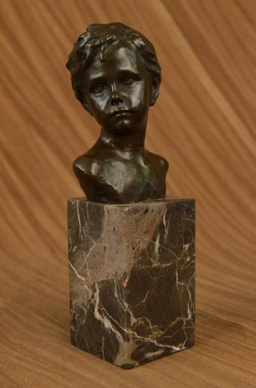 Marble Blocks For Sculpting : Art deco styled bronze bust of young boy mounted on marble