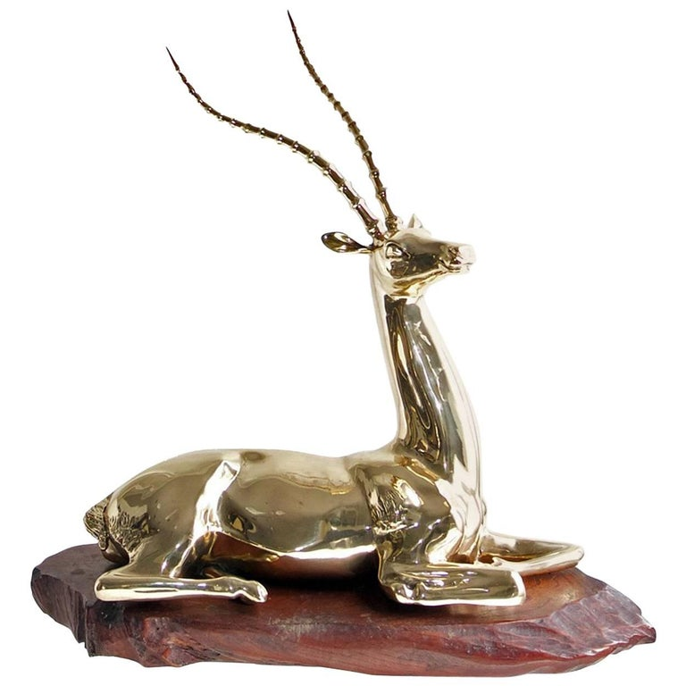 Restored Mid-20th Century Brass Sculpture of Impala on Natural Edge Wood Bas