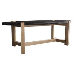 Pierce Coffee Table, Nero Marquina Marble, Oval, Maple Hardwood
