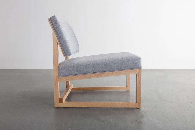 Hand-Crafted SQ Lounge Chair in Maple Hardwood Frame and Maharam Wool Upholstery For Sale