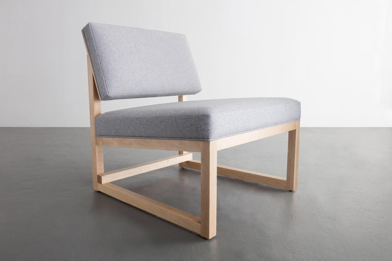 Contemporary SQ Lounge Chair in Maple Hardwood Frame and Maharam Wool Upholstery For Sale