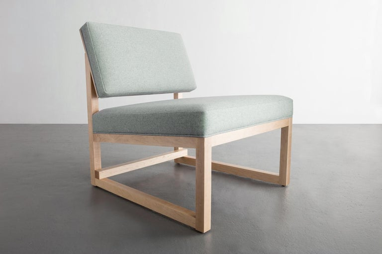 American SQ Lounge Chair in Maple Hardwood Frame and Maharam Wool Upholstery For Sale