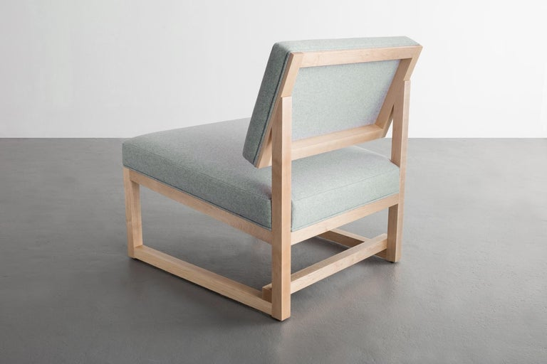 Modern SQ Lounge Chair in Maple Hardwood Frame and Maharam Wool Upholstery For Sale