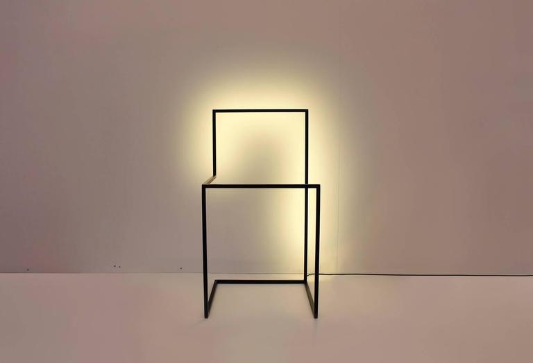 American F/G - Powder-Coated Aluminum Minimal Geometric Sculptural Floor Light Object For Sale