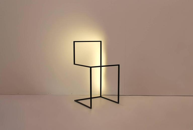 American F/G - Powder-Coated Aluminum Minimal Geometric Sculptural Floor Light Object For Sale