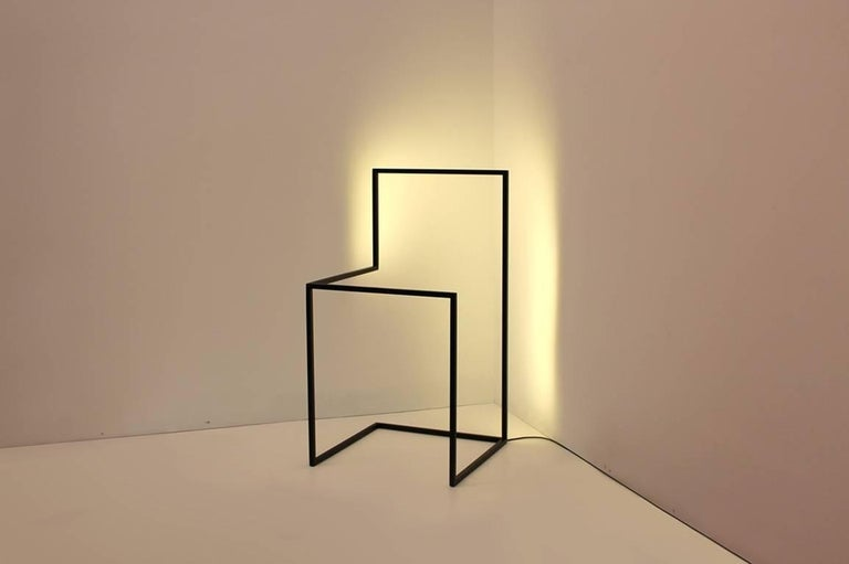 F/G - Powder-Coated Aluminum Minimal Geometric Sculptural Floor Light Object For Sale