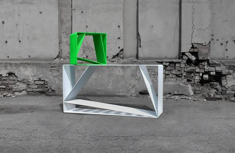 American LOOP - Powder-Coated Steel Wire Minimal Geometric Sculptural Console Table For Sale