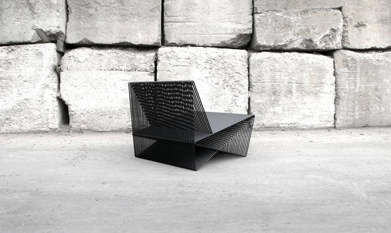 American Circuit - Powder-Coated Steel Geometric Sculptural Lounge Chair For Sale