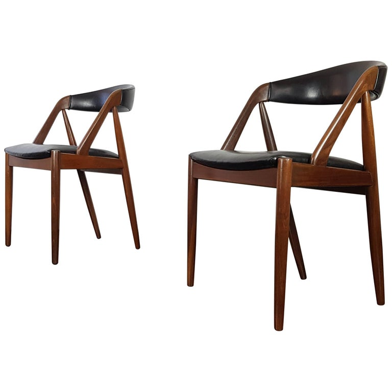 Pair of Kai Kristiansen Model 31 Teak 'a' Frame Chair for Schou Andersen, 1960s