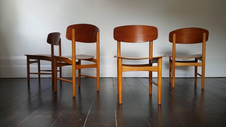 Danish Model 122 Teak and Oak Dining Chairs by Børge Mogensen for Søborg, 1960s