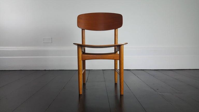 Model 122 Teak and Oak Dining Chairs by Børge Mogensen for Søborg, 1960s 1