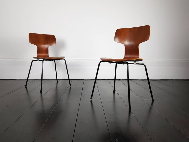 """Beautiful pair of teak """"model 3103"""" hammer chair by Arne Jacobsen for Fritz Hansen, 1960s.  Global shipping available please contact to discuss."""
