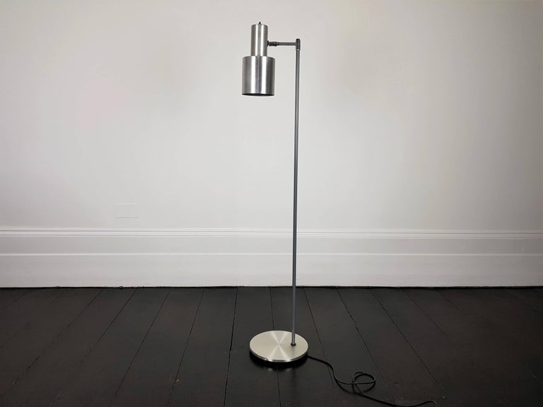 Aluminium 'Studio' floor lamp. Designed by Jo Hammerborg for Fog & Mørup and released in the 1960s.