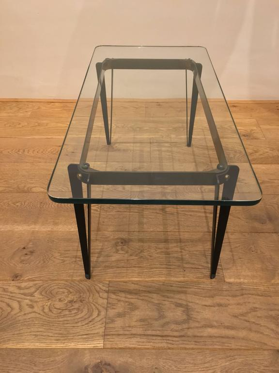 Italian Metal And Glass Coffee Table Circa 1950 At 1stdibs