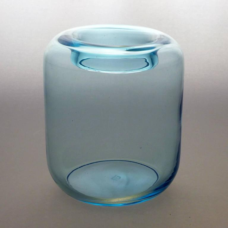 Cool blue Art Deco vase with inverted rim by A. D. Copier/ Signed CL produced at Royal Leerdam Glassworks, circa 1940. Andries Dirk Copier is one of the most revered glass designers of his time, a leader in the Art Deco 'Amsterdam School' style.