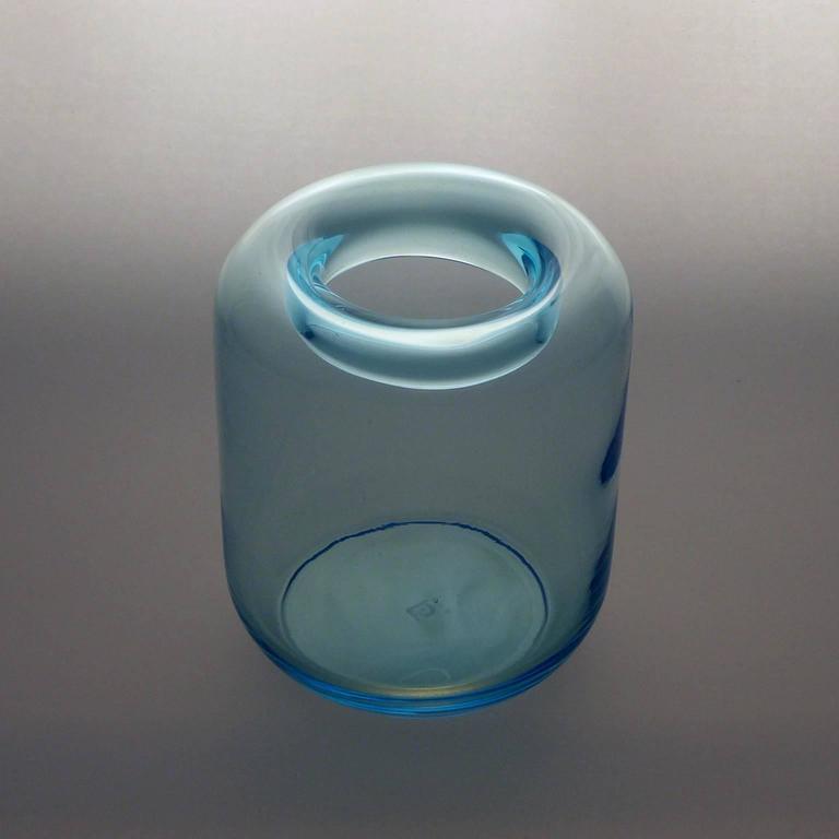 Blue Art Deco Glass Vase For Sale 2