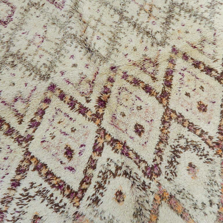 Hand-Knotted Colorful Vintage Beni Ourain Moroccan Berber Rug For Sale