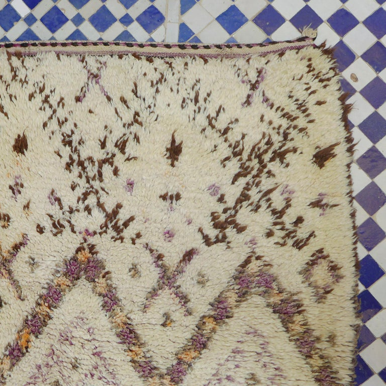 Late 20th Century Colorful Vintage Beni Ourain Moroccan Berber Rug For Sale