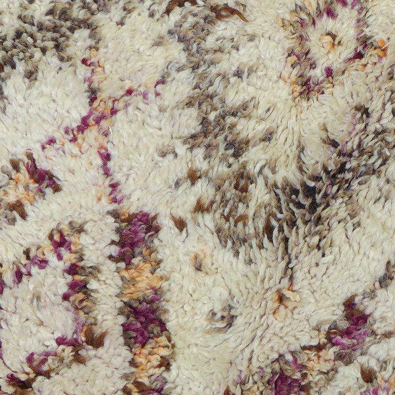 Colorful Vintage Beni Ourain Moroccan Berber Rug In Good Condition For Sale In Amsterdam, NL