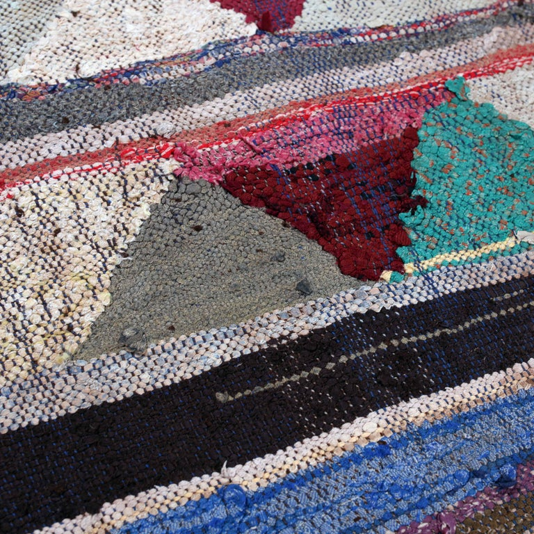 Vintage Moroccan Flat-Weave Boucherouite Rug In Fair Condition For Sale In Amsterdam, NL
