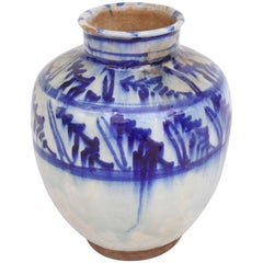 Islamic Mamluk 16th Century Blue Ceramic Jar Vase