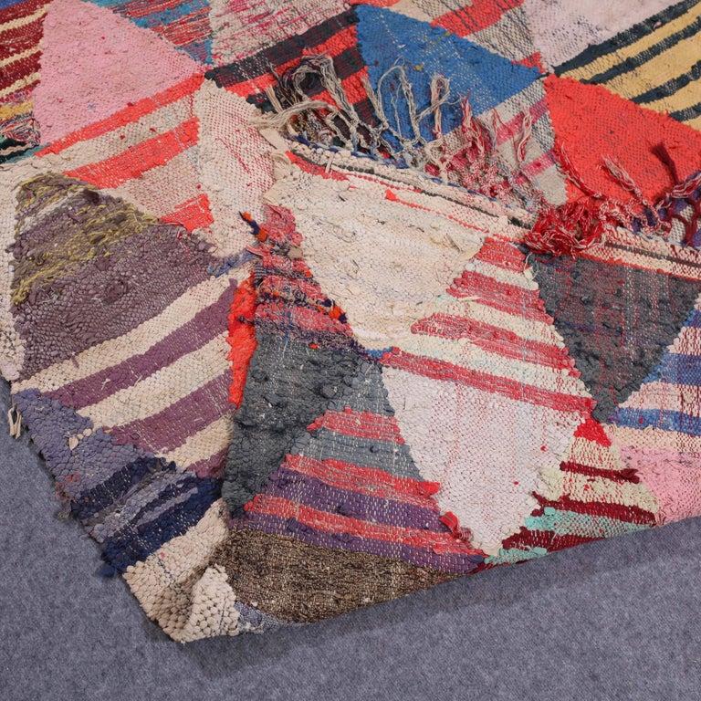 Vintage Moroccan Flat-Weave Boucheroite Rug 8
