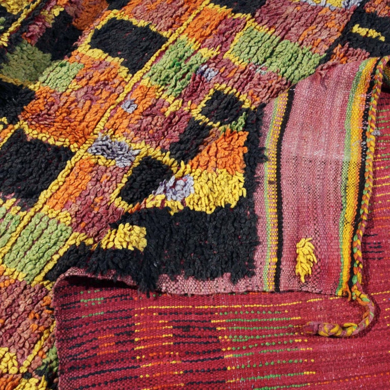 Mid-20th Century Vintage Moroccan Berber Rug with abstract colorfield For Sale