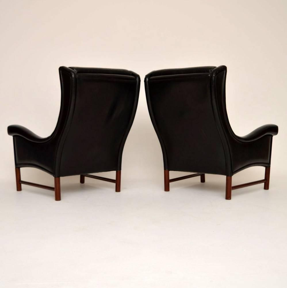 pair of danish retro leather armchairs vintage 1960s for