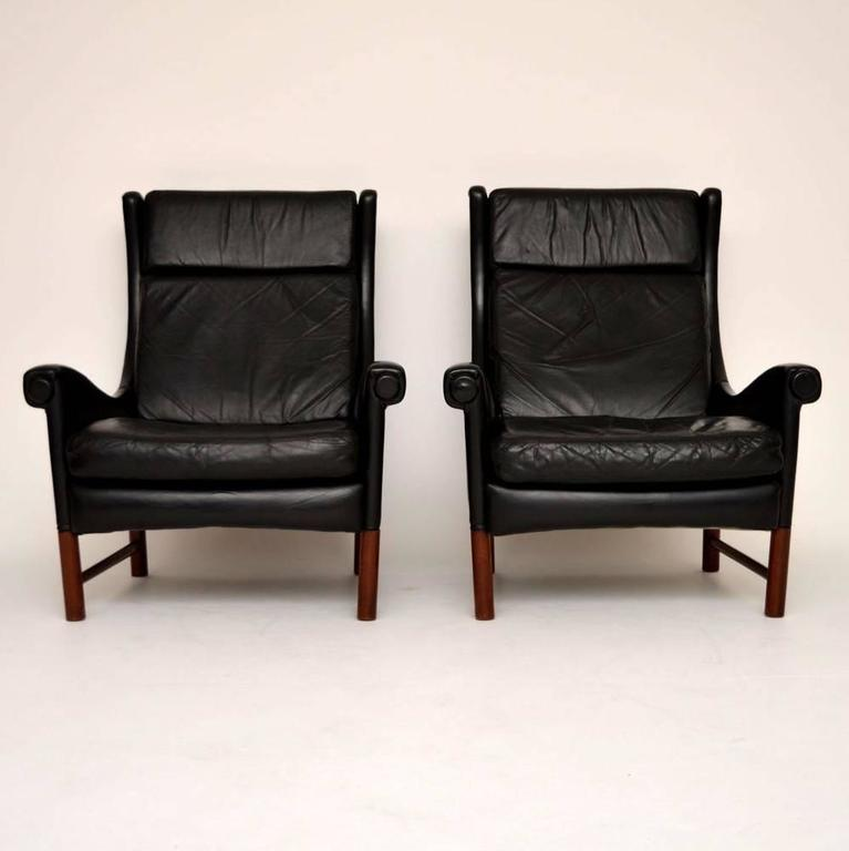 Pair Of Danish Retro Leather Armchairs Vintage 1960s At