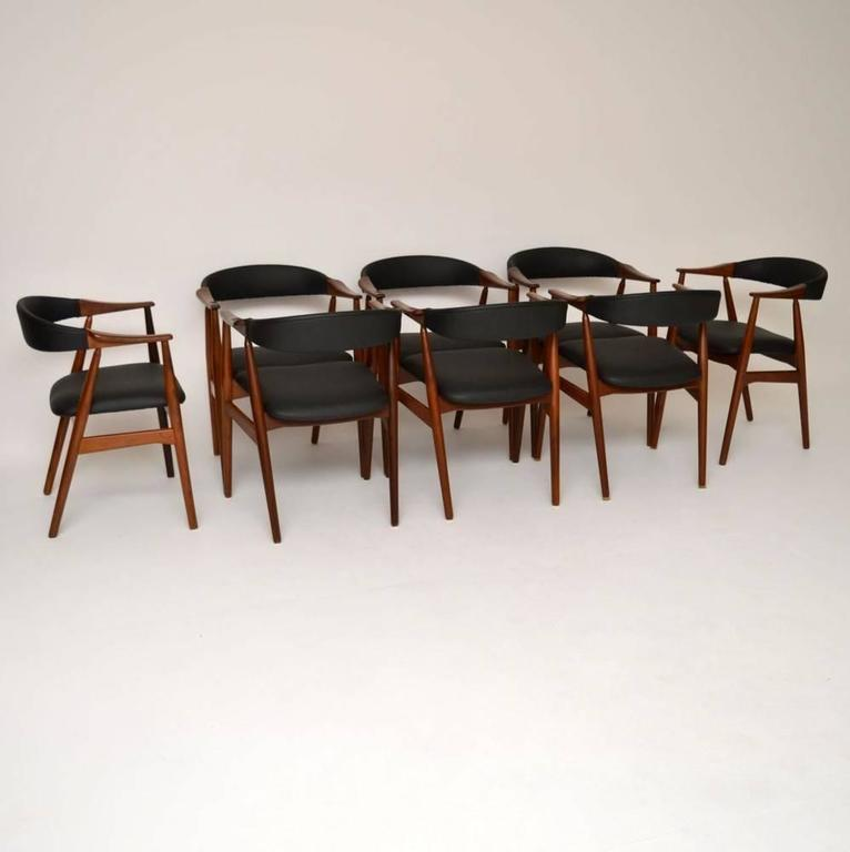 set of eight danish afromosia dining chairs by farstrup vintage 1960s 2