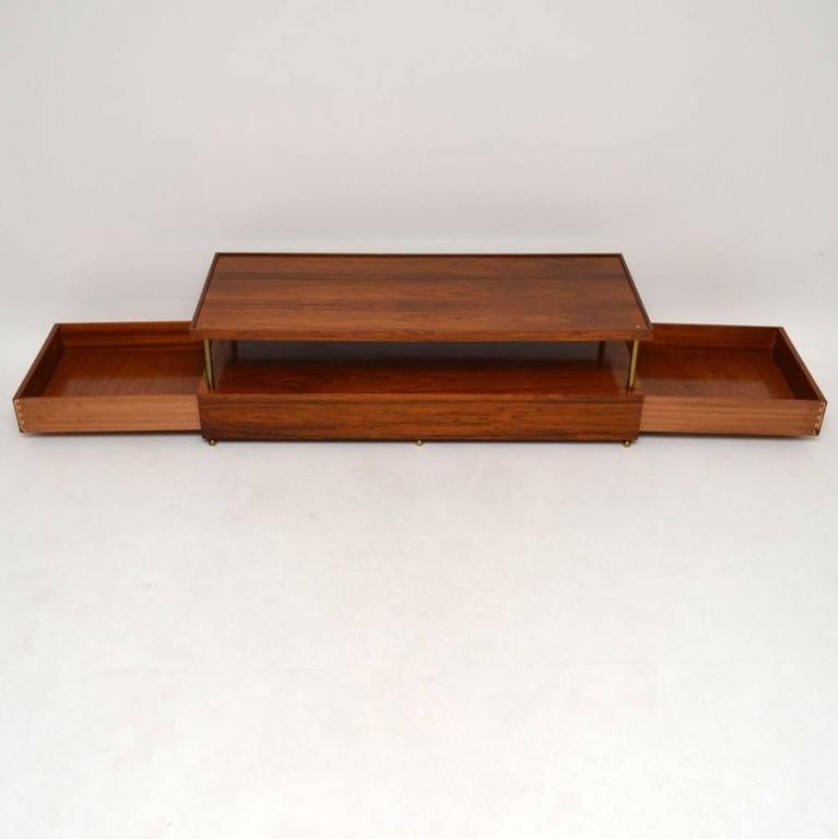 Retro Rosewood And Brass Coffee Table By Robert Heritage