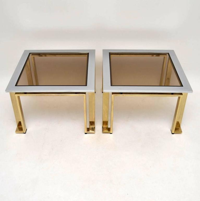 Pair Of Italian Chrome And Brass Side Tables By Zevi, Vintage 1970s In  Excellent Condition