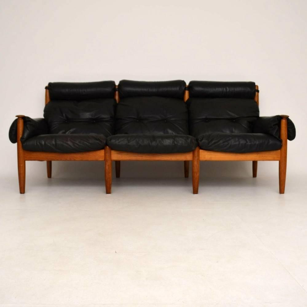 Danish Retro Leather And Oak Sofa Vintage 1960s For Sale