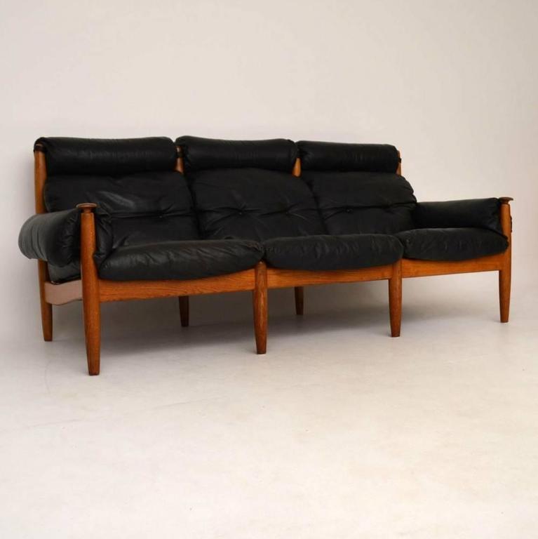 Danish Retro Leather And Oak Sofa Vintage 1960s At 1stdibs
