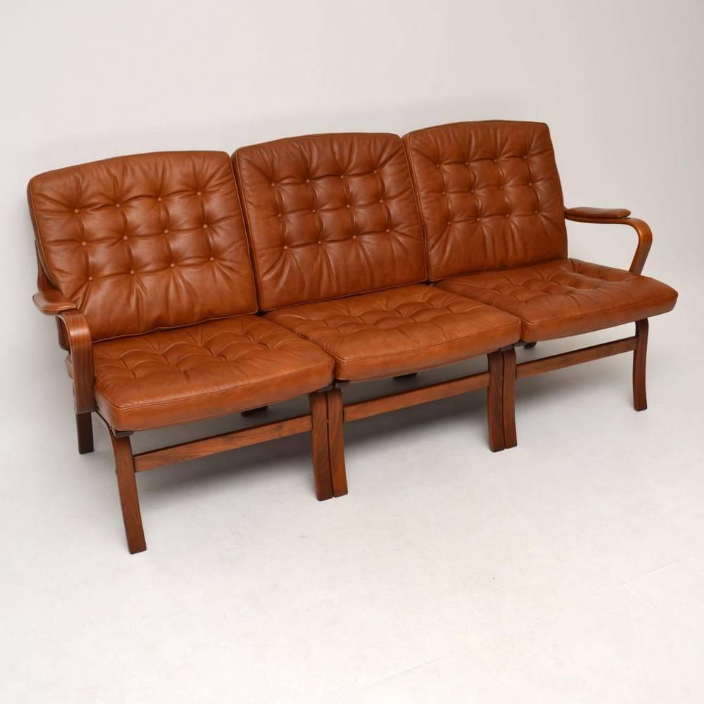 Danish Retro Leather Bentwood Sofa Vintage 1970s For Sale